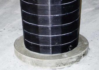Adeguamento sismico dello stabilimento Ex Rossi Sud a Latina mediante applicazione di CARBOSTRU® T-System sulle travi e CARBOSTRU® C-System su 40 pilastri in c.a. a sezione circolare e di forma tronco-conica (Dmin= 50cm).