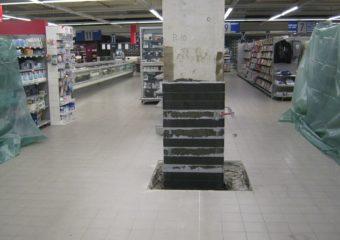 Miglioramento sismico al 60% mediante il sistema CARBOSTRU® C-System M+N+ per i pilastri al piano interrato e piano terra del punto vendita COOP Follonica