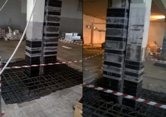 Raggiungimento del 60% del livello di Adeguamento sismico mediante il sistema CARBOSTRU® C-System M+N+ per i pilastri al piano terra e piano primo del punto vendita COOP di Livorno (LI).