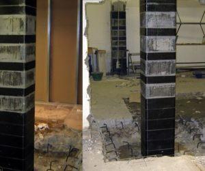 migliroamento sismico pilastri supermercato frp carbonio