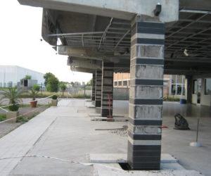 milglioramento sismico showroom pilastri frp carbonio