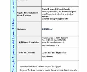 Il sistema CFRP CARBOSTRU® UD HM_HR 400 ha ottenuto il CERTIFICATO DI IDONEITA' TECNICA