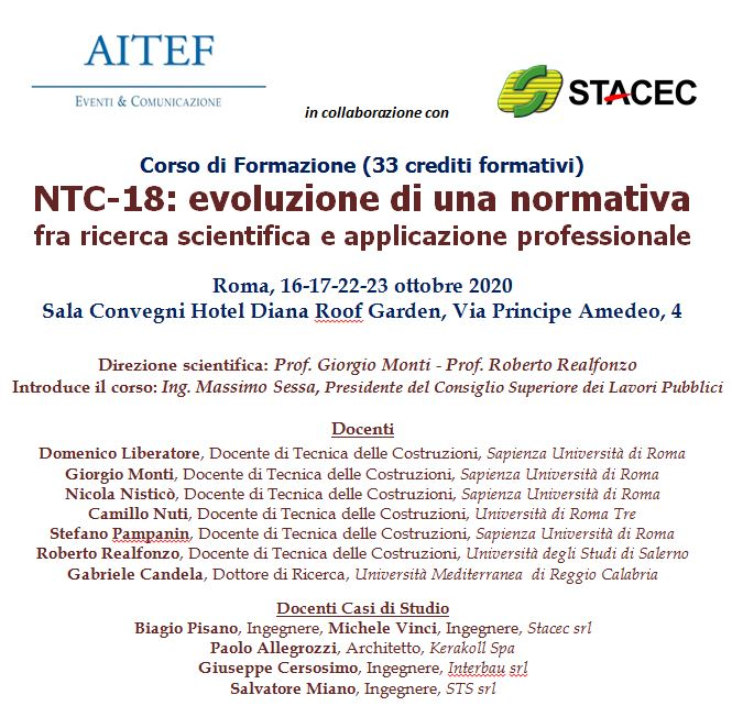 Roma - Corso di formazione: NTC-18: evoluzione di una normativa fra ricerca scientifica e applicazione professionale